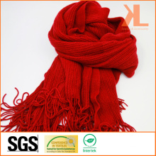 Acrylic Fashion Lady Winter Warm Red Knitted Neck Scarf with Fringe