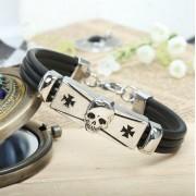 Fashion skull cross men's zinc alloy bracelet with PU leather,punk style wholesale