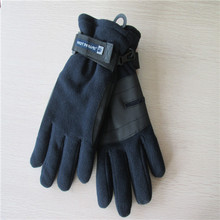 men's fleece gloves with PU on the palm
