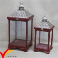 S/2 White Antique Vintage Distressed Wooden Candle Lantern with Metal Top for Wedding Decor