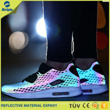 Tela reflectante personalizada de arco iris y plata de alta luminosidad para calzado deportivo