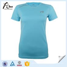 Senhora camisa poliéster personalizado impressão correndo desgaste