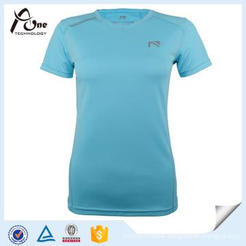 Women Cheap 100 Polyester V Neck T Shirt