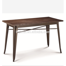 Estructura de metal retro mesa de eventos buffet superior de madera