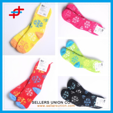 snow pattern colored terry microfiber cozy warm girl's teen ankle socks custom logo