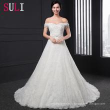 SL-019 Custom Made Off Shoulder Crystal Applique Beading Belt Backless Robe de mariée 2016
