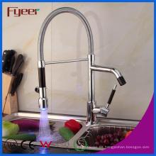 Fyeer - Grifo de fregadero de cocina con rociador doble LED de alta calidad