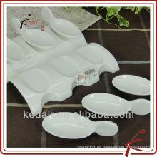 Venta al por mayor de porcelana blanca de cerámica cóctel plato conjunto