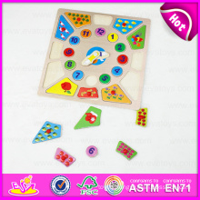 2015 Educational Kids Wooden Puzzle Set Toy, Learning Number and Time Wooden Clock Puzzle, Wooden Toy Puzzle Alarm Clock W14m076