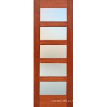 Puerta de madera compuesta de caoba Moldel con 5 vidrio esmerilado (S4-1009)