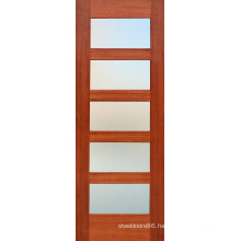 Moldel Mahogany Composite Wood Door with 5 Frosted Glass (S4-1009)