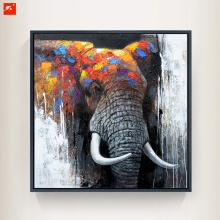 Colorful Hues Elephant Wildlife Animal Oil Painting