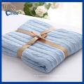 Blue Color 100% Cotton Blanket (QHD99801)
