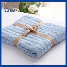 Cor azul 100% algodão cobertor (qhd99801)