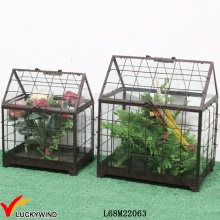 Retro Rustic Glass Panel Metal Frame Mini Garden Greenhouse