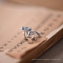 Handmad 925 Sterling Silver No Piercing Frog Clip-on Brincos Steampunk Estilizado