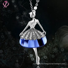 Wholesale Fashion Woman Lead Free Cheap Pendant Necklace, Zircon Doll 925 Sterling Silver Jewelry Pendant Necklace