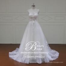Vestido de noiva de manga modificada com uma luva de guangdong com vestido de noiva com renda de marfim