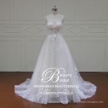 Модест Cap рукавом-line свадебное платье из провинции Гуандун с слоновой кости кружева аппликация свадебное платье