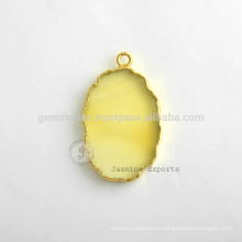 Venta al por mayor amarillo calcedonia Slice Gemstone Bezel Estación Micron oro plateado Sterling Silver Bezel Conector y Encanto