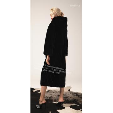 Pure Color Women Hooded Mink Coat Kopenhagen