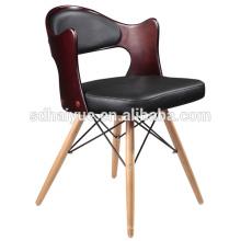Muebles vendedores calientes del restaurante de la PU negra con las piernas de madera