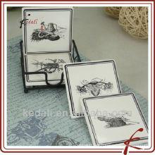 Coasters mais vendidos de cerâmica de porcelana com suporte de ferro