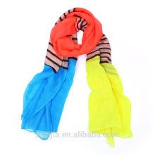 Мода полосой печати полиэстер вуаль длинный леди шарф