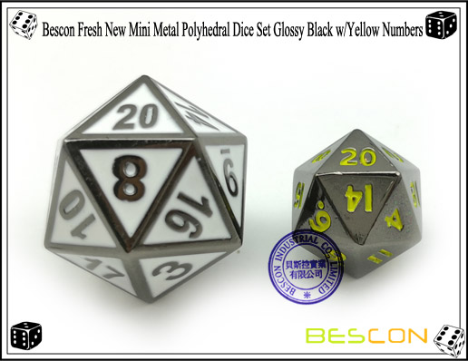 Bescon Fresh New Mini Metal Polyhedral Dice Set Glossy Black with Yellow Numbers-2