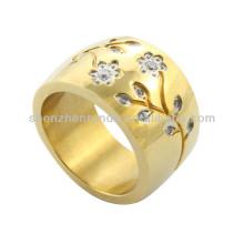 2014 oro plateó la joyería de encargo del anillo de la flor con el cristal