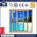 Elektrophorese Champegne Aluminium Schiebefenster mit Sicherheit Grill
