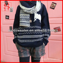 Women jacquard reindeer sweaters loose cotton Christmas pullover sweater