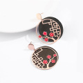 Kolczyki Rose Gold Black Round Cute Flower Dangle