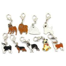 Diferentes raças de cães esmalte Dangle Metal jóias encantos