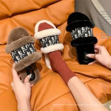 wholesale women flat outdoor fur slippers  plush slide sandal for ladies girl fahion fur warm slipper