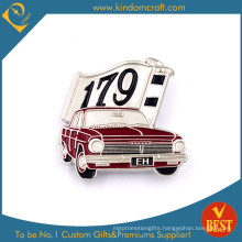 Eh 179 Car Shape Tin Button Badge in Red Backdrop for Present