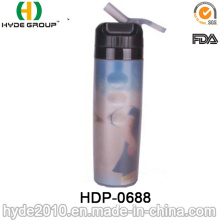 600ml New Product Plastic Drinking Bottle with Straw, PE Plastic Sport Water Bottle (HDP-0688)