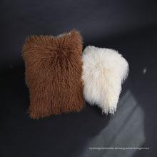Wholesale weichen lockigen mongolischen Lammfell Kissenbezug