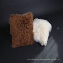 Wholesale Soft Curly Mongolian Lamb Fur Cushion Cover