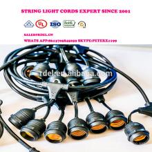 Luces de cuerda al aire libre Set Commercial Grade Edison hilo de iluminación- 48 pies Heavy Duty Cord 18 Sockets 21 bombillas incandescentes (UL
