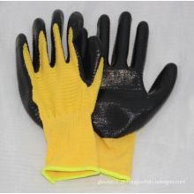 13G Luva de poliéster amarelo U3 com nitrilo revestido