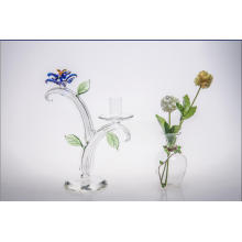Clear Single Poster Glass Candle Holder for Wedding Decoration with Color Glass Flower