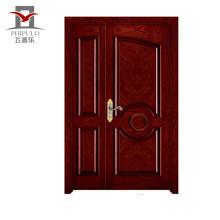 Corrosão porta principal design de madeira maciça, entrada porta de madeira maciça