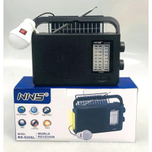 NNS 920SL FM AM SW 3 Band Rechargeable Radio With Light With USB SD TF Mp3  With Solar Portable Radio