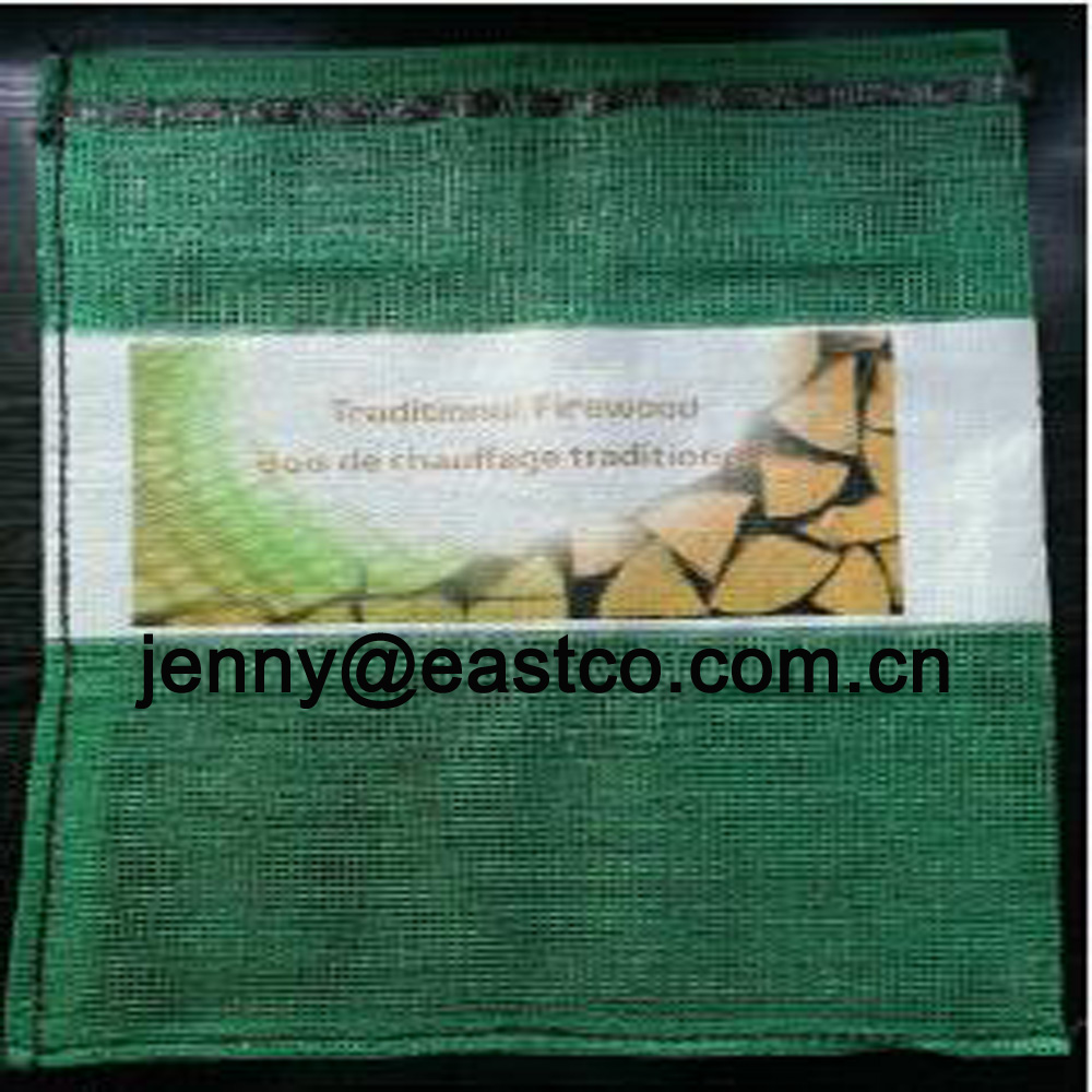 Printed Firewood Mesh Net Bag Sack with Printing Label Band