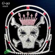 Nueva tiara popular del desfile de Halloween del cráneo del rhinestone