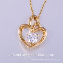 diseñador de iluminación colgante en forma de corazón colgantes de cristal collares joyería collier femme caliente de la manera chapado en oro collar de cadena Pe