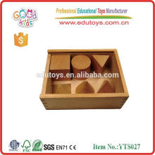 6pcs 3D Geometry box Set Preschool Toys Natural Wood Educational Promotional Toy