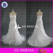 ЭД невесты дешевые ruched органзы без бретелек кружева аппликация линии Белый свадебное платье
