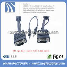 6 pies vga a vga cable macho con adaptador de cable de audio y vídeo de 3.5mm
